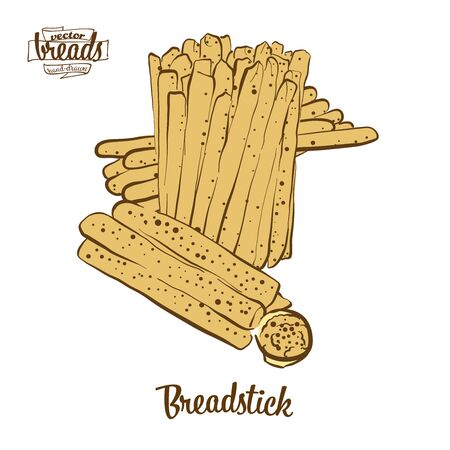 Breadstick bread. Vector illustration of Dry bread food, usually known in Italy. Colored Bread sketches.