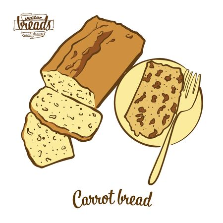 Carrot bread bread. Vector illustration of Leavened food, usually known in Ireland. Colored Bread sketches. Иллюстрация