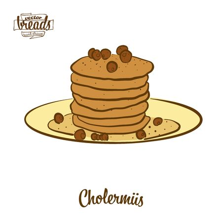 Cholermüs bread. Vector illustration of Pancake food, usually known in Switzerland. Colored Bread sketches. Ilustração