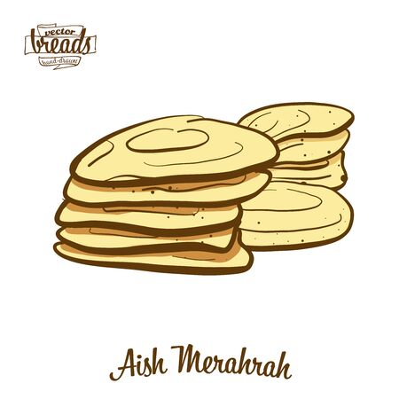 Aish Merahrah bread. Vector illustration of Flatbread food, usually known in Egypt. Colored Bread sketches.