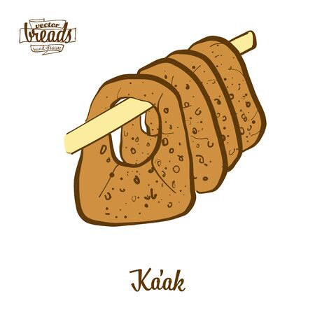Kaak bread. Vector illustration of Leavened food, usually known in Near East. Colored Bread sketches.