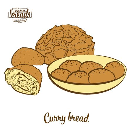 Curry bread bread. Vector illustration of Bun food, usually known in Japan. Colored Bread sketches.