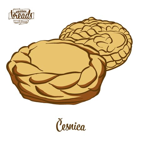 Cesnika bread. Vector illustration of Soda bread food, usually known in Serbia. Colored Bread sketches.