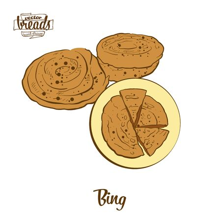 Bing bread. Vector illustration of Flatbread food, usually known in China. Colored Bread sketches.
