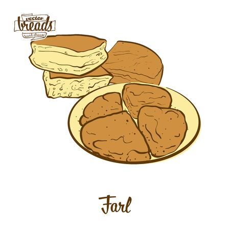Farl bread. Vector illustration of Flatbread food, usually known in United Kingdom. Colored Bread sketches.