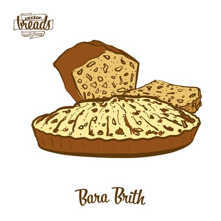 Bara Brith bread. Vector illustration of Fruit bread food, usually known in United Kingdom, Wales. Colored Bread sketches.