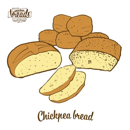 Chickpea bread bread. Vector illustration of Leavened food, usually known in Albania and Turkey. Colored Bread sketches.