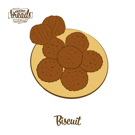 Biscuit bread. Vector illustration of Yeast bread food, usually known in America, Europe. Colored Bread sketches. Ilustração