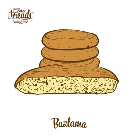 Bazlama bread. Vector illustration of Flatbread food, usually known in Turkey. Colored Bread sketches.