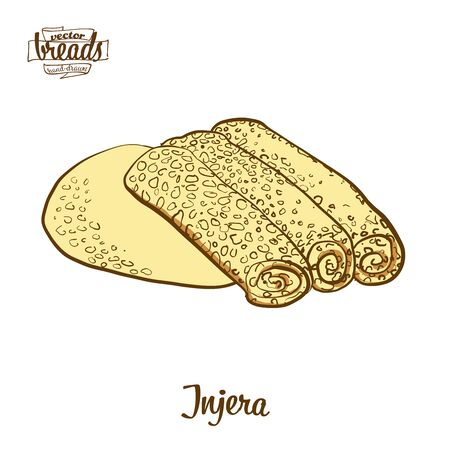 Injera bread. Vector illustration of Flatbread food, usually known in Eritrea. Colored Bread sketches. Иллюстрация