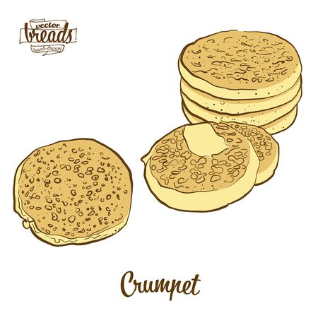 Crumpet bread. Vector illustration of Flatbread food, usually known in United Kingdom. Colored Bread sketches. Ilustração