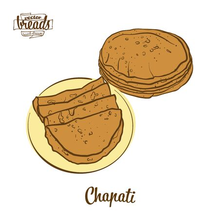 Chapati bread. Vector illustration of Flatbread food, usually known in South Asia. Colored Bread sketches. Иллюстрация