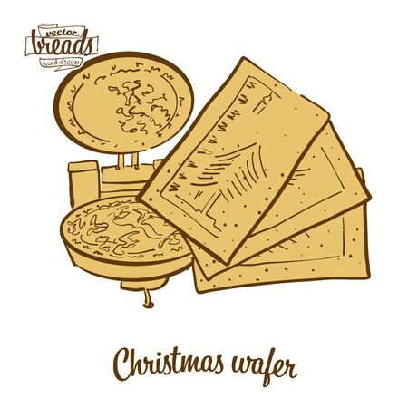 Christmas wafer bread. Vector illustration of Crispy bread food, usually known in Eastern Europe. Colored Bread sketches.