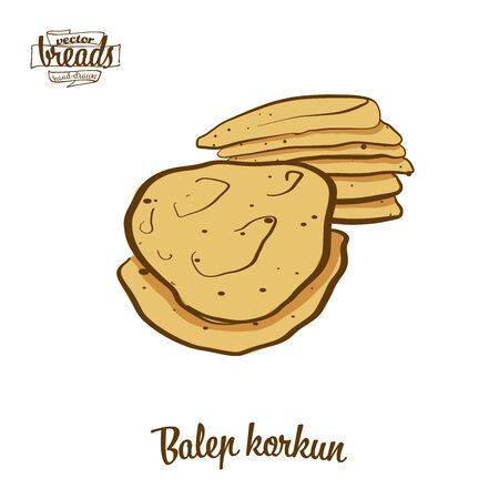 Balep korkun bread. Vector illustration of Flatbread food, usually known in Tibet. Colored Bread sketches. 写真素材 - 129789421