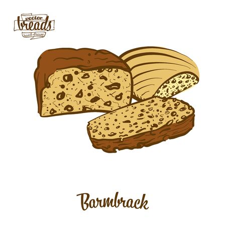 Barmbrack bread. Vector illustration of Yeast bread food, usually known in Ireland. Colored Bread sketches.