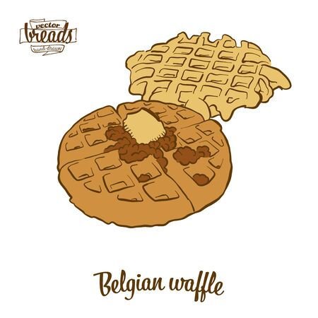 Belgian waffle bread. Vector illustration of Waffle food, usually known in Belgium. Colored Bread sketches. Ilustrace