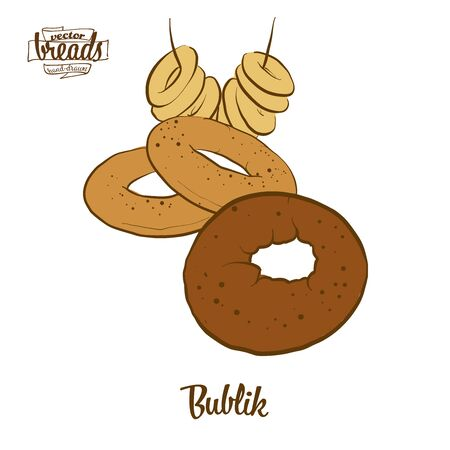 Bublik bread. Vector illustration of Wheat bread food, usually known in Poland. Colored Bread sketches.