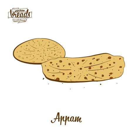 Appam bread. Vector illustration of Varies widely food, usually known in India. Colored Bread sketches. Ilustração