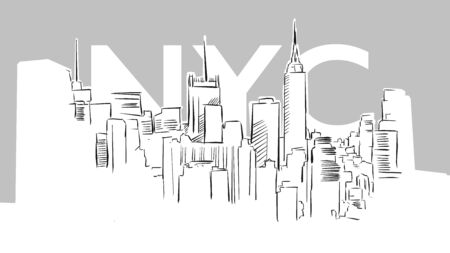 Metropolis Panorama Skyline Vector Sketch. Hand Drawn Illustration on grey background. 写真素材 - 129565207