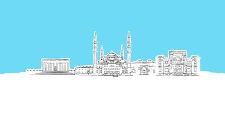 Ankara, Turkey Skyline Panorama Vector Sketch. Hand-drawn Illustration on blue background.