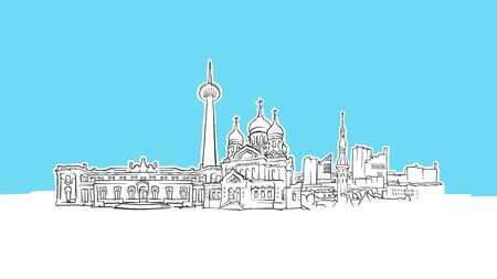 Tallinn Estonia Skyline Panorama Vector Sketch. Hand-drawn Illustration on blue background.