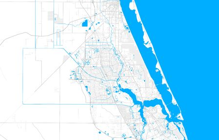 Rich detailed vector area map of Port St. Lucie, Florida, USA. Map template for home decor.