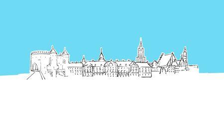 Warsaw, Poland Skyline Panorama Vector Sketch. Hand-drawn Illustration on blue background. 免版税图像