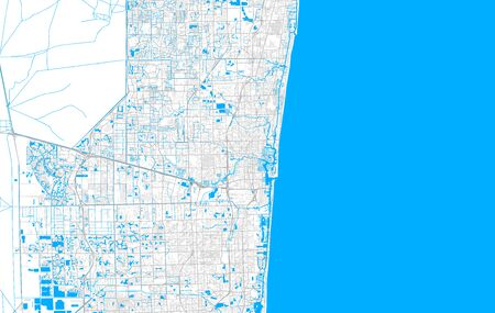 Rich detailed vector area map of Fort Lauderdale, Florida, USA. Map template for home decor.