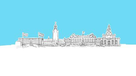 Stockholm, Sweden Skyline Panorama Vector Sketch. Hand-drawn Illustration on blue background.