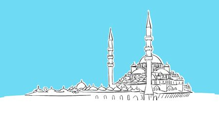 Istanbul Skyline Panorama Vector Sketch. Hand-drawn Illustration on blue background.