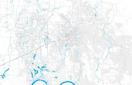 Rich detailed vector area map of Huntsville, Alabama, USA. Map..
