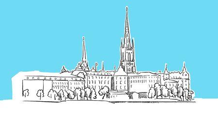 Stockholm Waterfron Skyline Panorama Vector Sketch. Hand-drawn Illustration on blue background. Reklamní fotografie