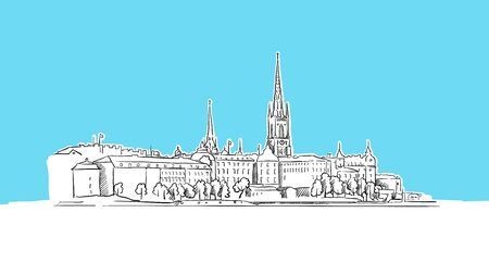 Stockholm Skyline Panorama Vector Sketch. Hand-drawn Illustration on blue background.