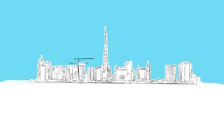 Dubai Skyline Panorama Vector Sketch. Hand-drawn Illustration on blue background. Stockfoto