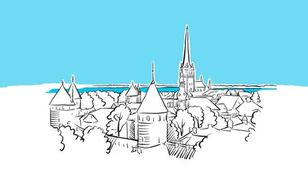 Riga Skyline Panorama Vector Sketch. Hand-drawn Illustration on blue background. 版權商用圖片