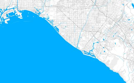 Rich detailed vector area map of Huntington Beach, California, USA. Map template for home decor. Stock Photo