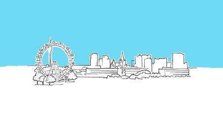 Vienna Austria Skyline Panorama Vector Sketch. Hand-drawn Illustration on blue background.