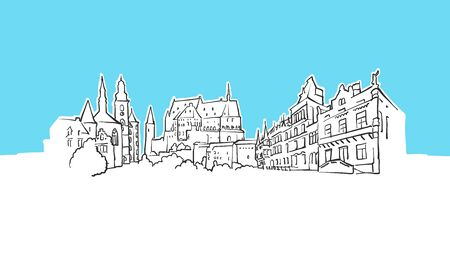 Luxembourg Skyline Panorama Vector Sketch. Hand-drawn Illustration on blue background.