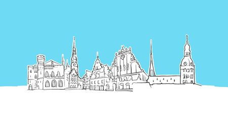 Riga Latvia Skyline Panorama Vector Sketch. Hand-drawn Illustration on blue background. 版權商用圖片