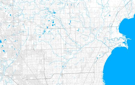 Rich detailed vector area map of Sterling Heights, Michigan, USA. Map template for home decor. Иллюстрация