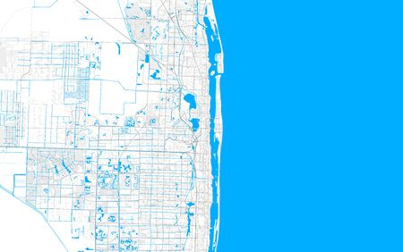 Rich detailed vector area map of West Palm Beach, Florida, USA. Map template for home decor.