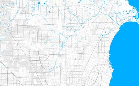 Rich detailed vector area map of Warren, Michigan, USA. Map template for home decor.