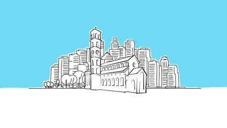 Christian Church Lineart Vector Sketch. and Drawn Illustration on blue background. Stock Illustratie
