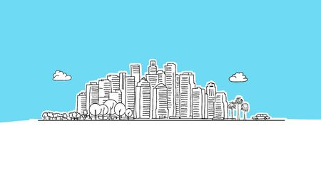 Generic City Lineart Vector Sketch. and Drawn Illustration on blue background.