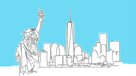 New York Big Apple Lineart Vector Sketch. and Drawn Illustration on blue background.