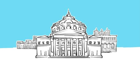 Bucharest Romania Lineart Vector Sketch. and Drawn Illustration on blue background.