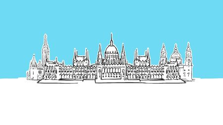 Budapest Hungary Lineart Vector Sketch. and Drawn Illustration on blue background.  イラスト・ベクター素材