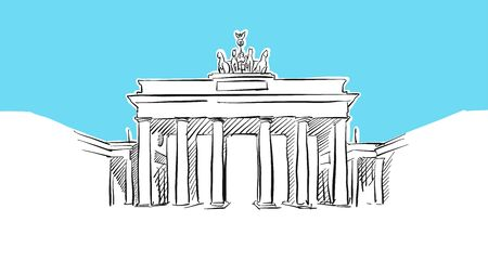 Brandeburg Gate In Berlin Lineart Vector Sketch. and Drawn Illustration on blue background. 일러스트