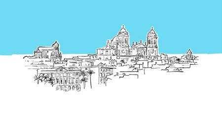 Cadiz, Portugal Lineart Vector Sketch. and Drawn Illustration on blue background.