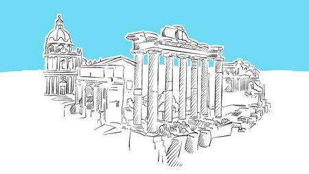 Forum Romanum Rome Lineart Vector Sketch. and Drawn Illustration on blue background. Archivio Fotografico - 131280847